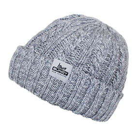 Cable Knit Beanie - Light Grey/Black Marl